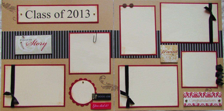 Scrapbook ideas baby milestones - Class Of 2013 12x12 Premade Scrapbook Pages Graduation Commencement 15 00 Via Etsy