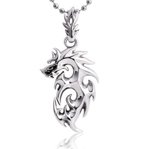 High polished dragon 925 sterling silver pendant necklace for men high polished dragon 925 sterling silver pendant necklace for men aloadofball Image collections