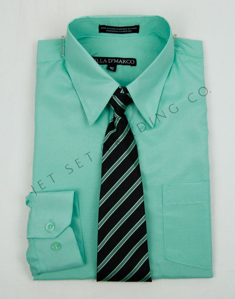 5df436a58 BOYS MINT LONG SLEEVE DRESS SHIRT WITH MATCHING TIE (NEW, Sizes 6 - 20)  #VillaDMarco #Dressy