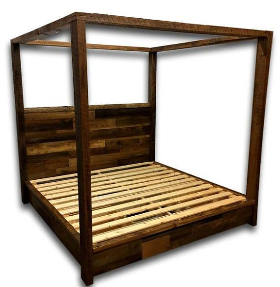Reclaimed Wood Bed Canopy Bed Storage Bed Platform Bed Bedroom Furniture Rustic Bedroom Farmhouse Bed