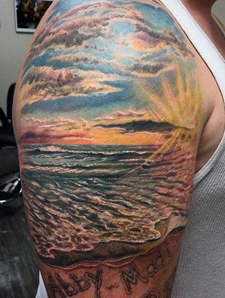 75 Beach Tattoos For Men Serene Sandy Shore Designs Beach