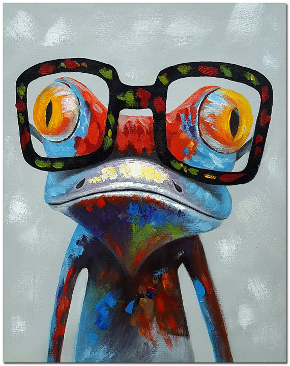e638d451a573 Frog with Glasses - Signed Hand Painted Impressionist Frog Painting On  Canvas Colorful Art CERTIFICA
