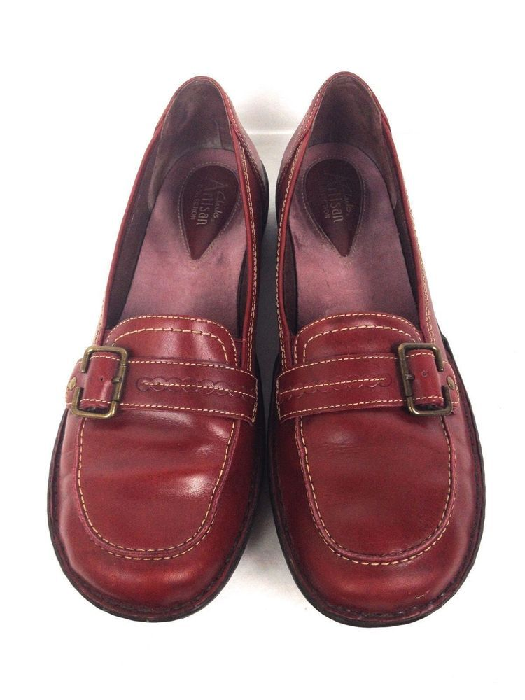 Clarks Shoes Womens 10 Red Leather
