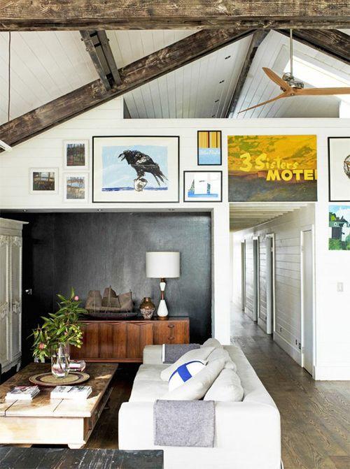 High ceilings, exposed wooden beams