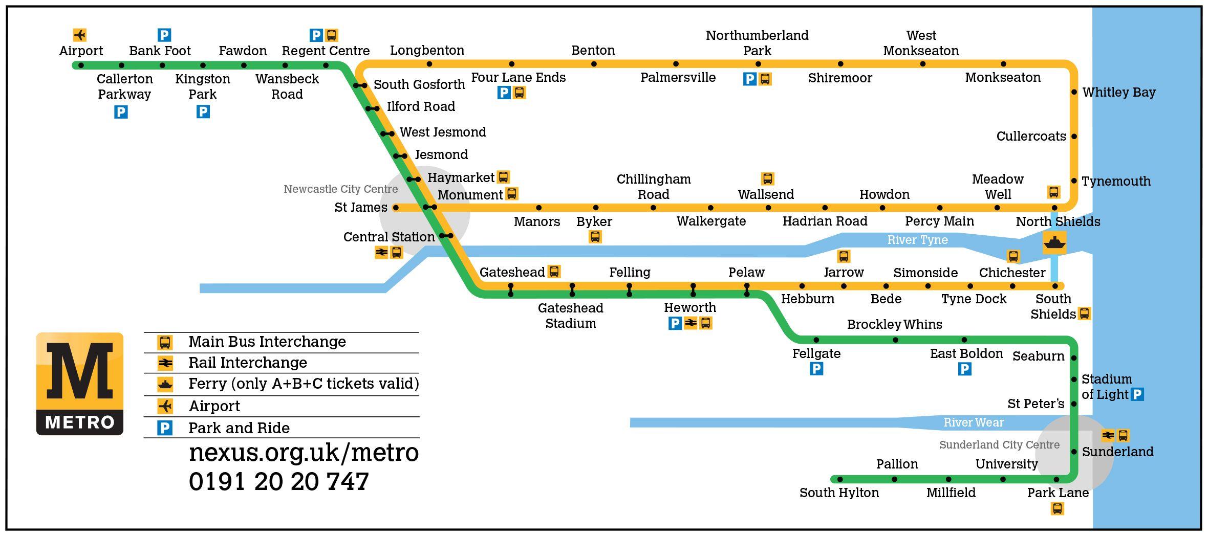 European Transit Maps Newcastle Metro Metro Map Transit Map