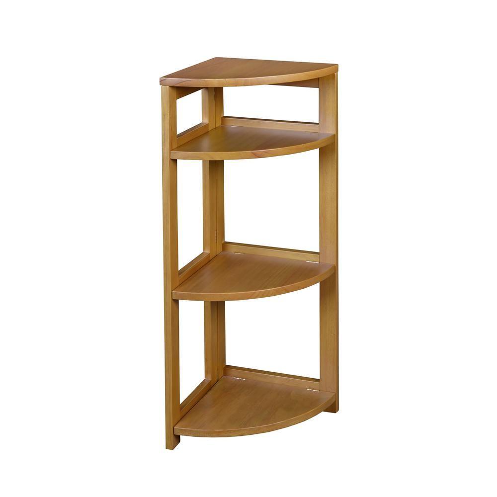 Flip Flop Medium Oak 3-Shelf Corner Folding Bookcase