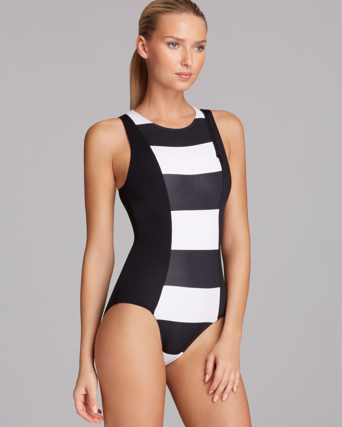 Dkny White Lorimer Stripe High Neck Maillot One Piece Swimsuit Flattering Swimsuits Swimsuits One Piece Swimsuit