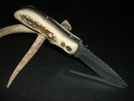 Deer stag folder with mother of pearl inlays