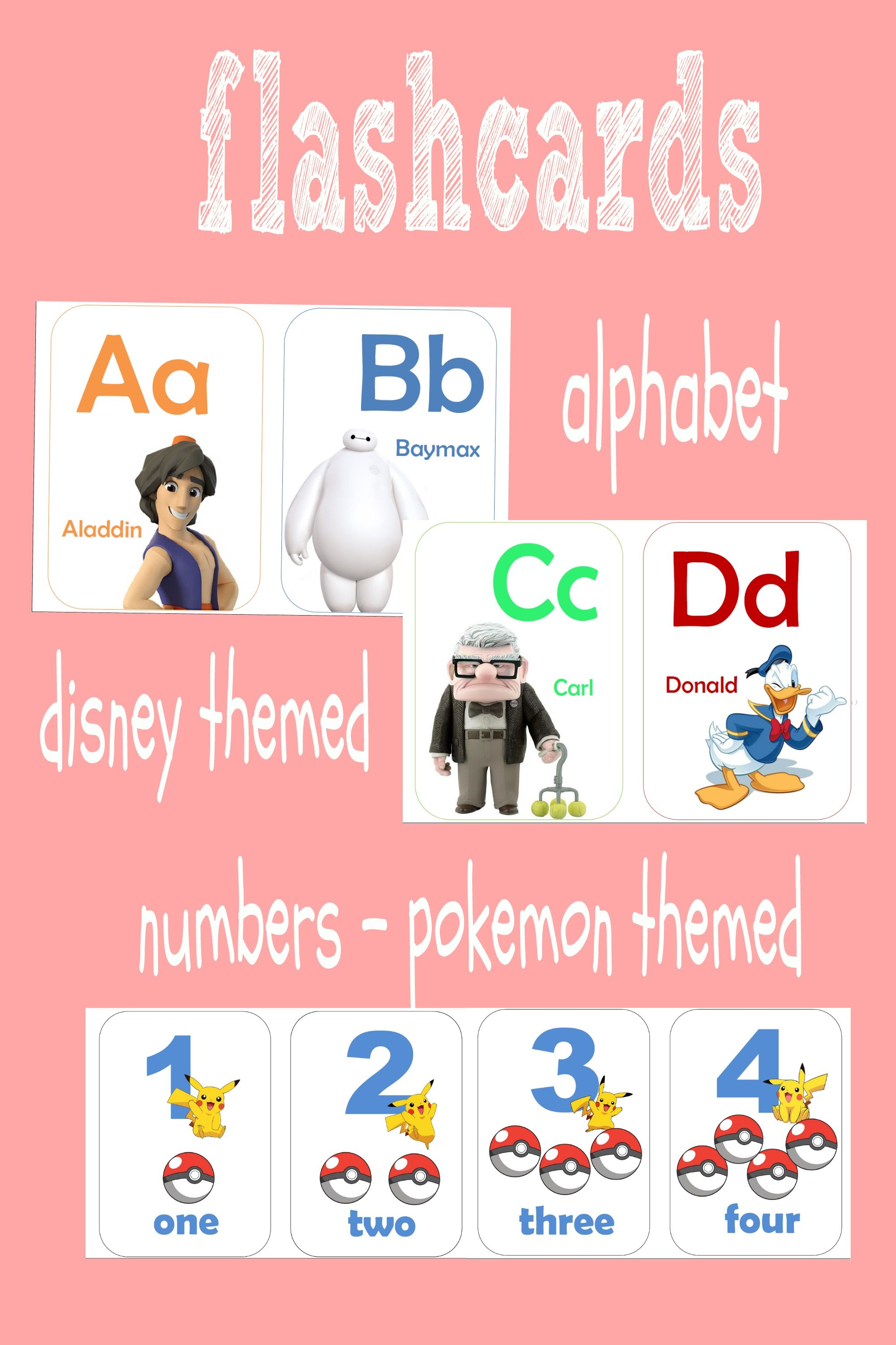 Printable Flashcards Alphabet Numbers Disney Theme Pokemon