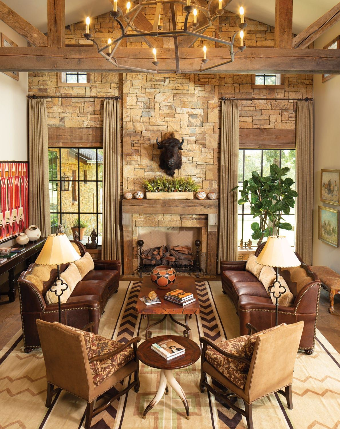 Refined Cowboy Comfort Western Art Architecture Western Living Rooms Cabin Living Room Southwest Living Room
