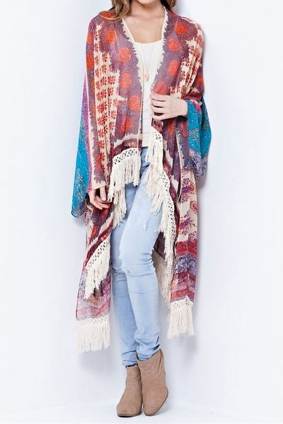 A board print over sized open kimono cardigan with fringe on hem ...
