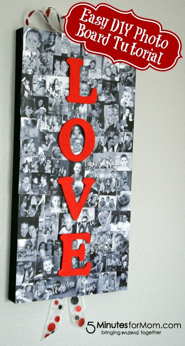 DIY Photo Board Tutorial Create a fabulous photo board to decorate your home with this easy to follow tutorial from 5 Minutes for Mom!Create a fabulous photo board to decorate your home with this easy to follow tutorial from 5 Minutes for Mom!