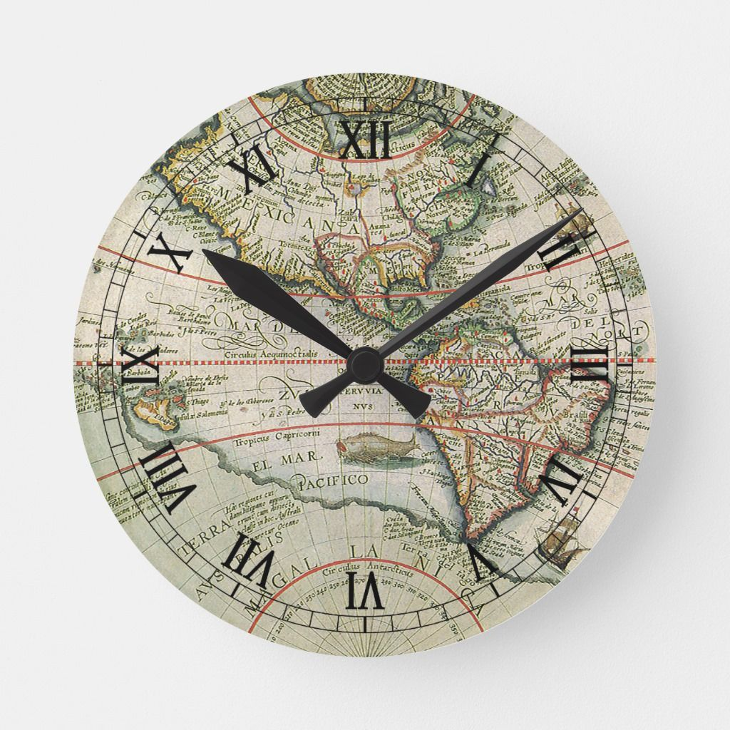 Antique Old World Map Of The Americas 1597 Round Clock Zazzle Com In 2020 Old World Maps Antique World Map Clock