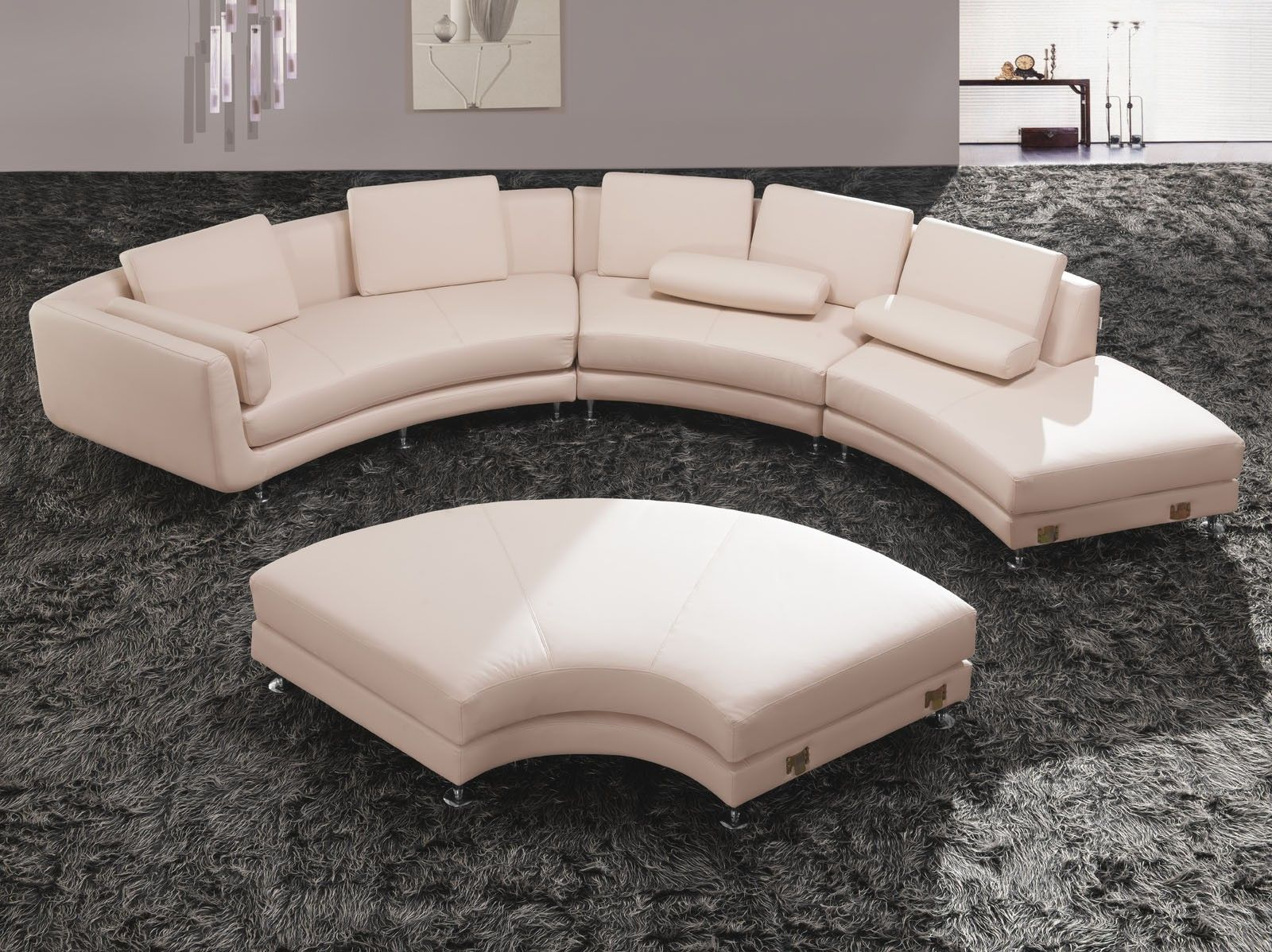 Classy Curved Sectional Sofa For Living Room Decoration: Off White Bonded  Leather Curved Sectional Sofa