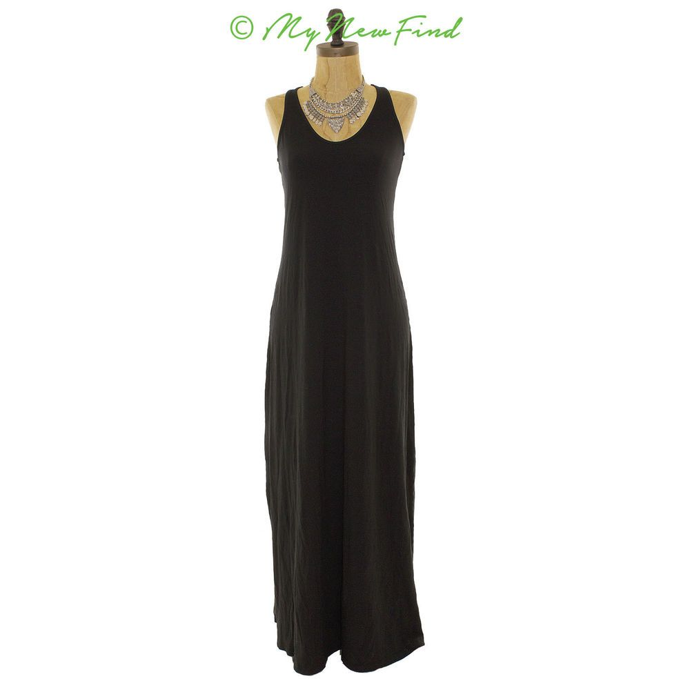 NWT SPLENDID NORDSTROM U NECK TANK ANKLE MAXI DRESS SLEEVELESS BLACK XS B45 #Splendid #Maxi