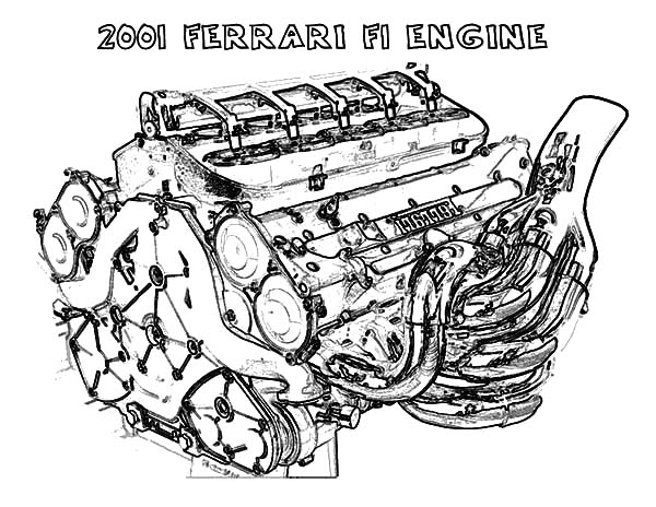 Ferrari Car F1 Engine Parts Coloring Pages : Best Place to