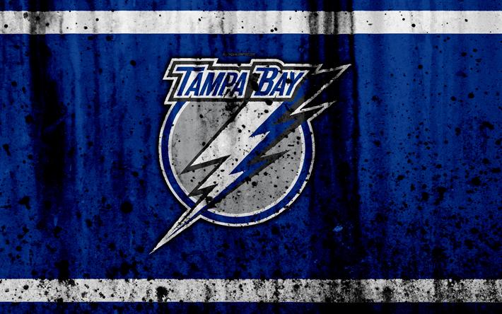 Download Wallpapers 4k Tampa Bay Lightning Grunge NHL Hockey Art