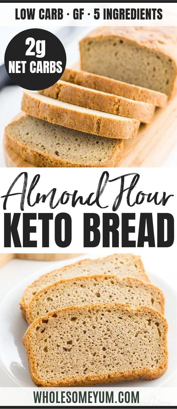 Easy Low Carb Bread Recipe Almond Flour Bread Paleo Gluten Free In 2020 Best Low Carb Bread Easy Low Carb Bread Recipe Lowest Carb Bread Recipe