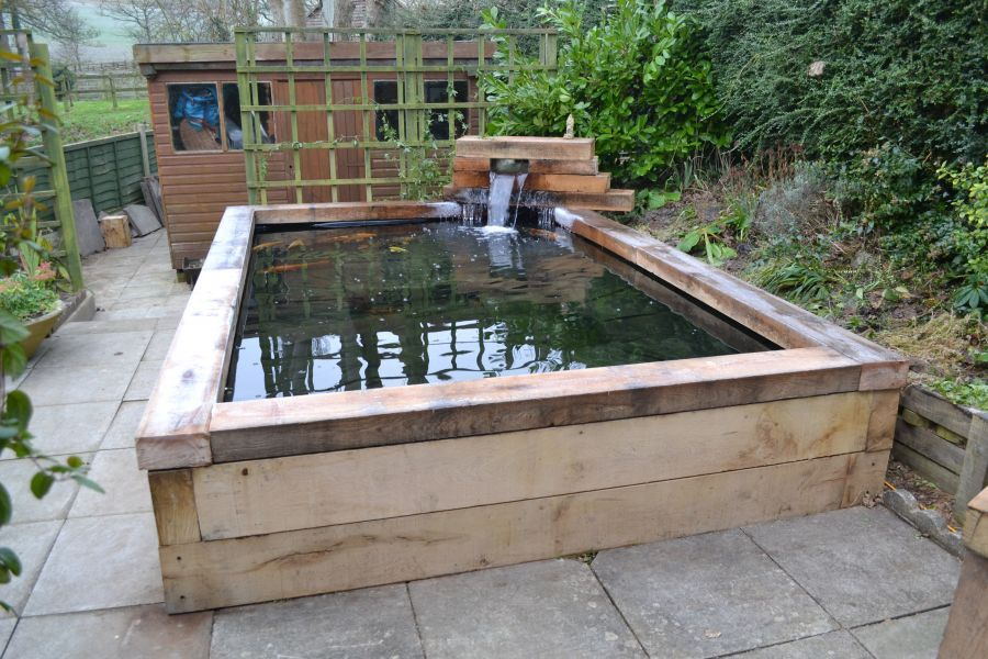 Koi Carp Pond With Railway Sleepers Garden Pinterest
