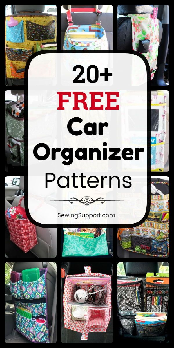 Diy organizers to sew for your car. 20+ free car organizer patterns, tutorials, and diy projects. Sew a fabric car seat organizer for your vehicle with multi pocket storage for either back or front seats. Great organization idea for kids or adult stuff while traveling. #SewingSupport #Organizer #Car #Diy #Pattern #Sewing #Organization #sewingtechniques