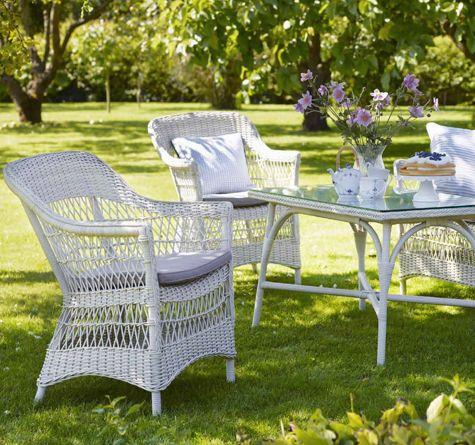 Gartenmöbel Im Landhausstil rattan sessel charlot mit esstisch in vintage white
