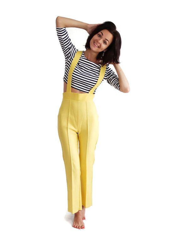 60s Pants / Slacks / High Waist / Overalls / by PetticoatsPlus, $52.00