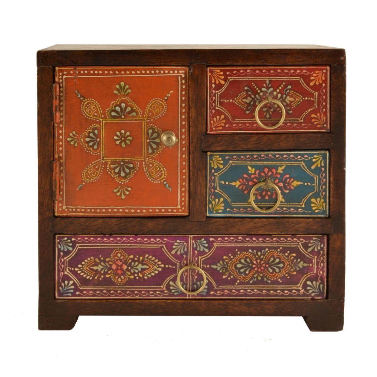Mehindi storage chest asymmetric 35 21 12 19cm for Mobili colorati design