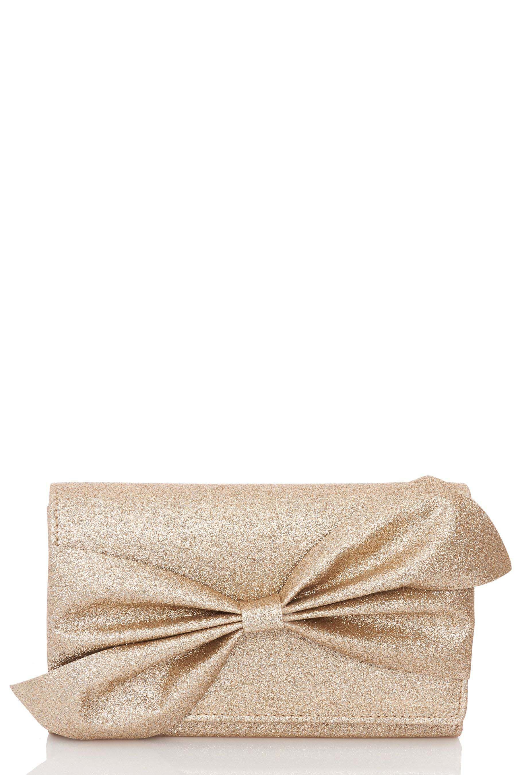 f0a2f09db06 Womens Quiz Glitter Bow Clutch Bag - Gold | Products | Glitter ...