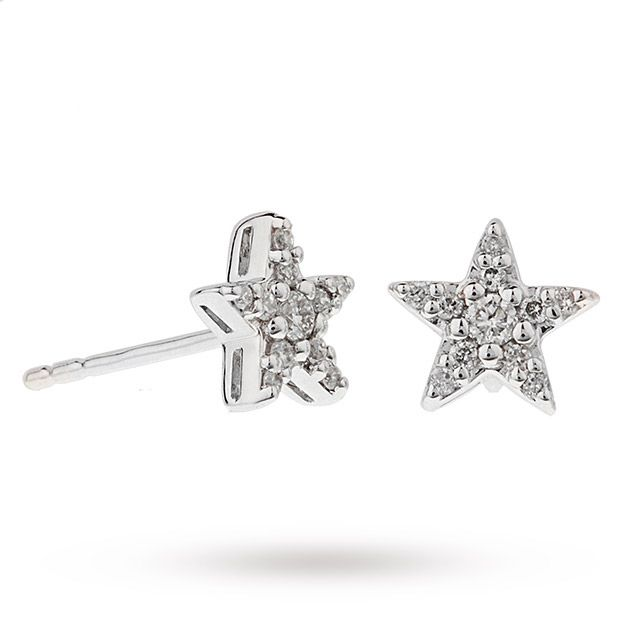 9ct White Gold 0 15ct Diamond Star Stud Earrings Jewellery Goldsmiths
