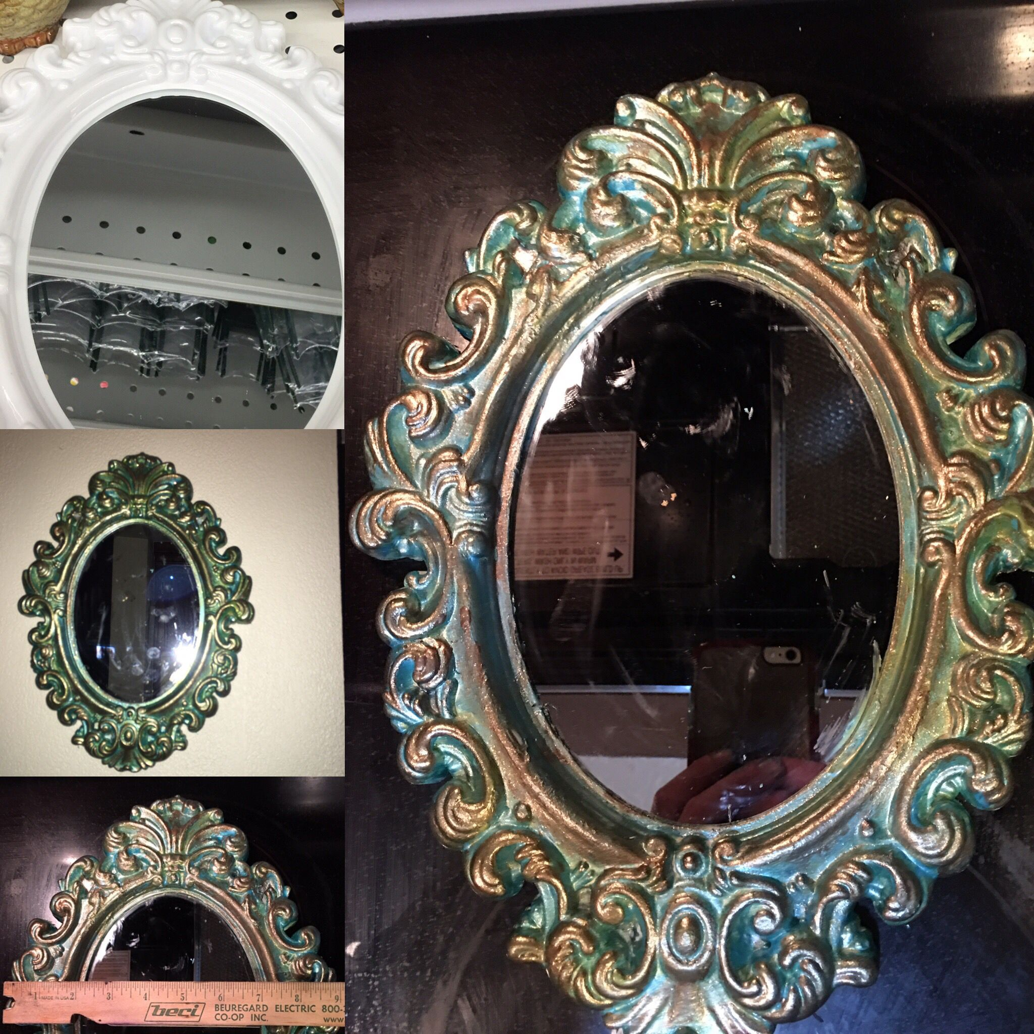 99 Cents Store Mirror From Plastic Shiny White To A Cool Green Blue And Bronze Patina Esq Look Dollar Store Diy 99 Cent Store Dollar Stores