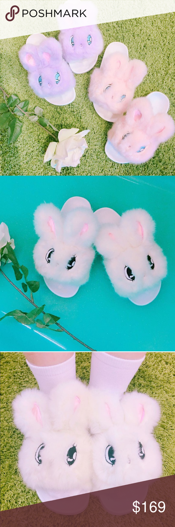 b952c3db29a9 NWOT Rare Lazy Oaf Bunny Slippers Esther Loves You Auth. Sold out. New  without box or tag. WC X Esther loves you. Very cute slipper.