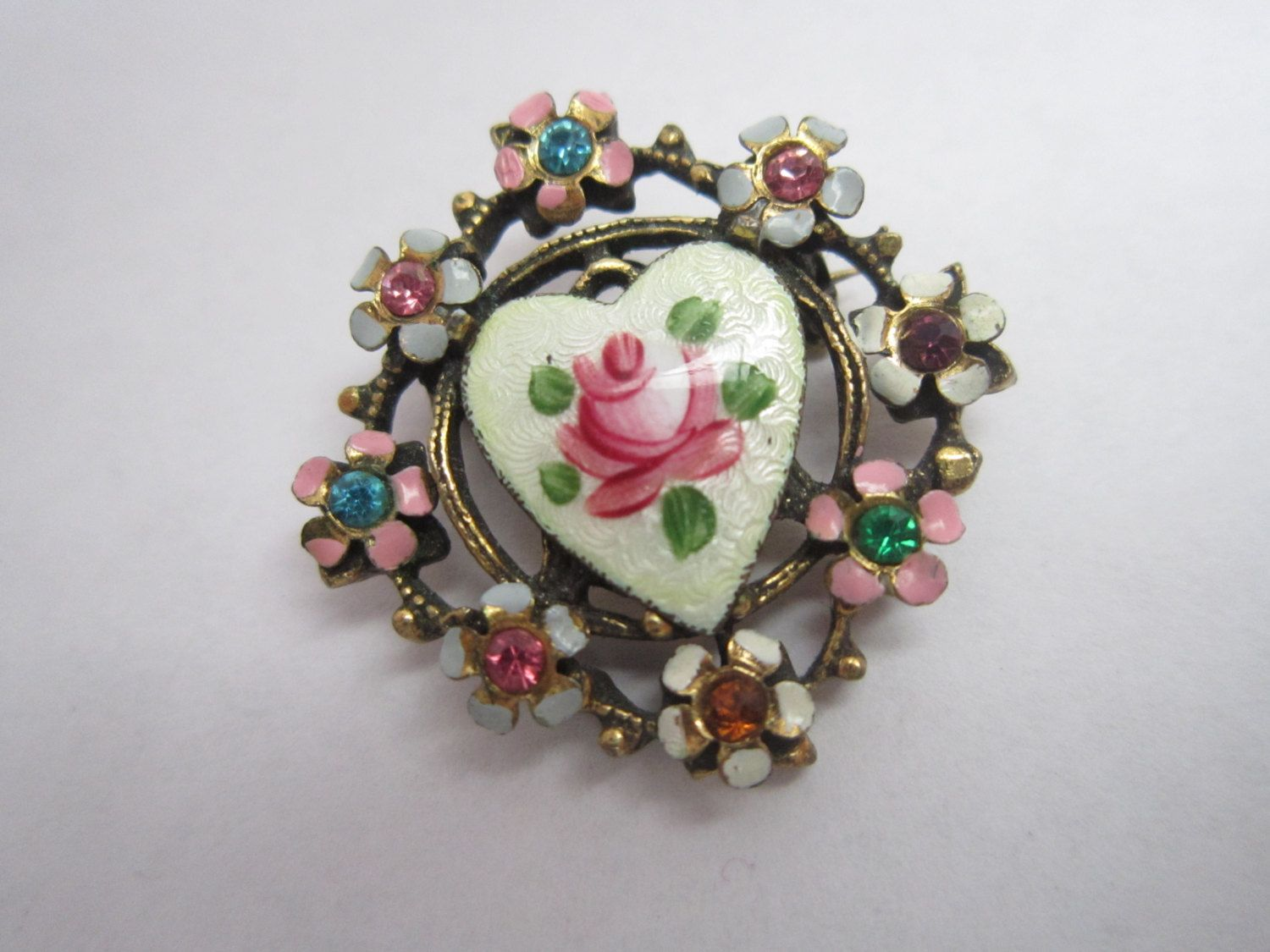RomanticBeckonings Vintage Art Deco French Guilloche Rhinestone Pink Rose Flower Brooch Pin by RomanticBeckonings on Etsy