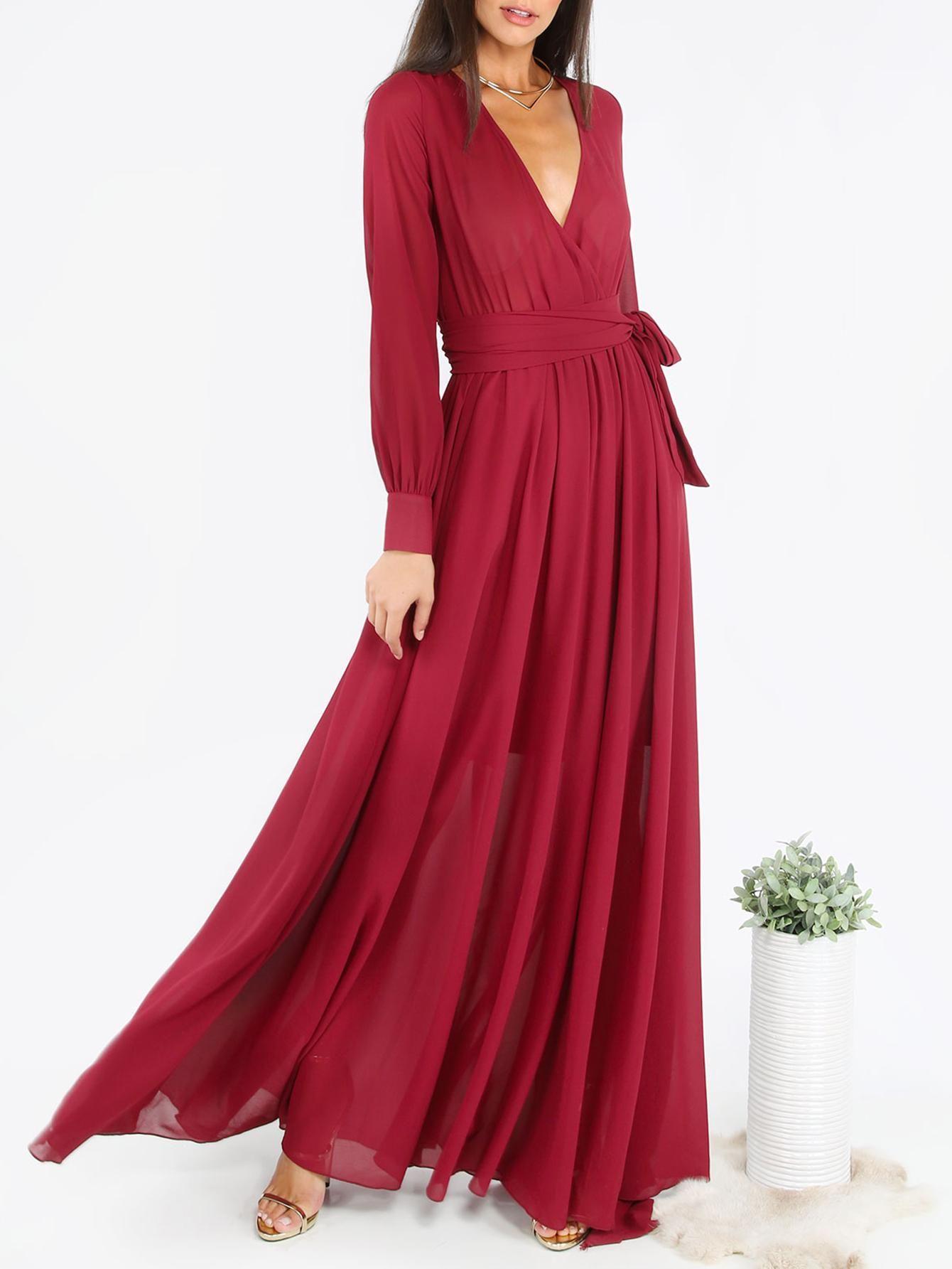 Shein shein burgundy surplice front self tie cuff sleeve dress