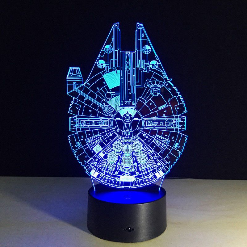 Novelty Star Wars Millennium Falcon 3d Led Night Light Colorful Atmosphere Lamp Unbranded Table Lamps For Bedroom Mood Lamps 3d Led Night Light