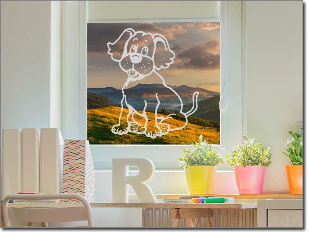 Fenstersticker kinderzimmer ~ Scheibenfolie für kinderzimmer hundebaby glastattoos tiere