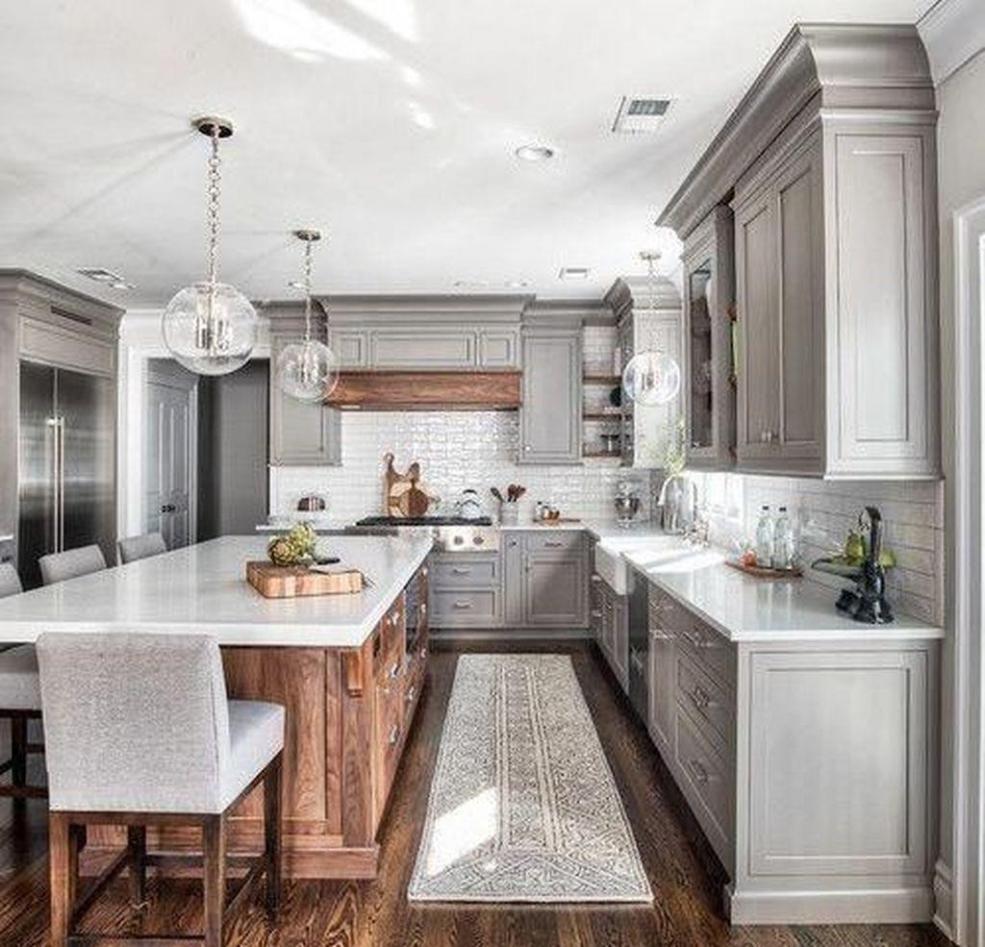 49 Gorgeous Farmhouse Gray Kitchen Cabinet Design Ideas Design