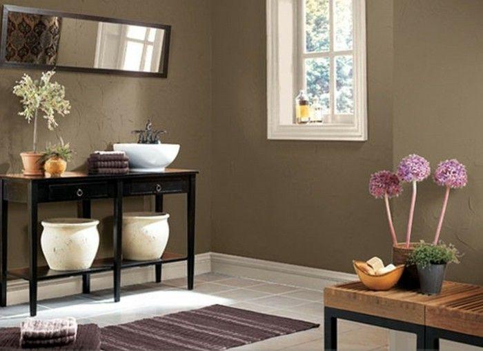 braune wandgestaltung badezimmer mit braunen neuancen