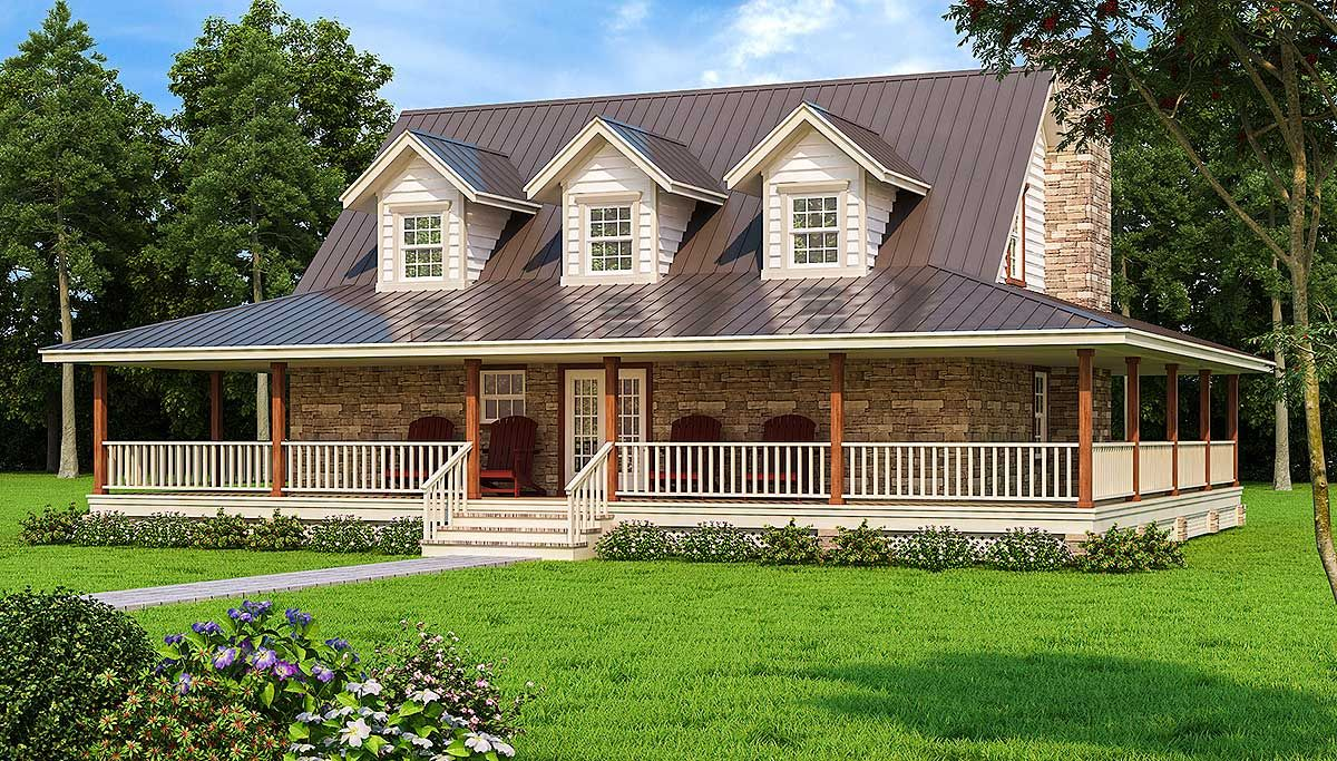 Plan 3027d Wonderful Wrap Around Porch Hill Country Homes Porch House Plans Country House Plans