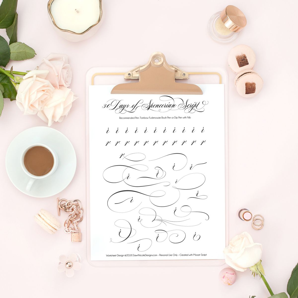 Spencerian Script Style Letter R Worksheets By Dawn