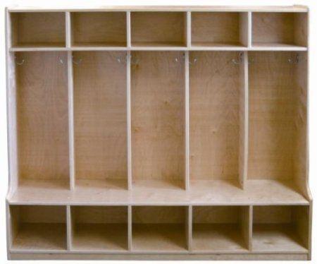 Amazon Com Ecr4kids 5 Section Coat Locker With Bench Birch Furniture Decor Diy Mudroom Possibility Daycare Cubbies Mudroom Lockers Daycare Furniture