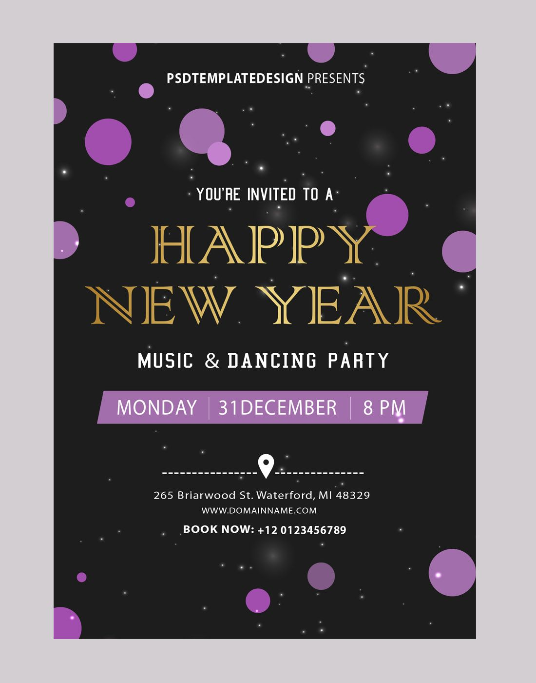 New year party invitations card template Invitation card