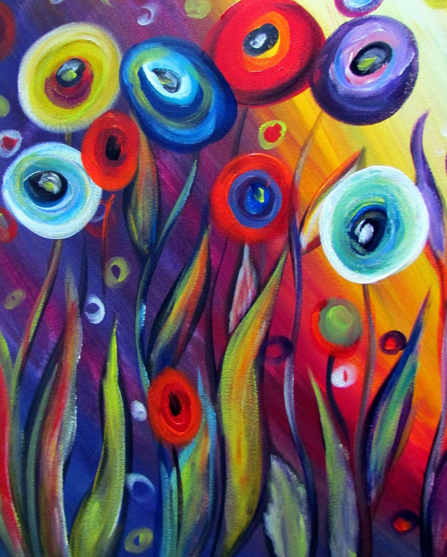 Galeria Pinturas De Arte: Original Pintura Abstracta Moderna Caprichosas Flores