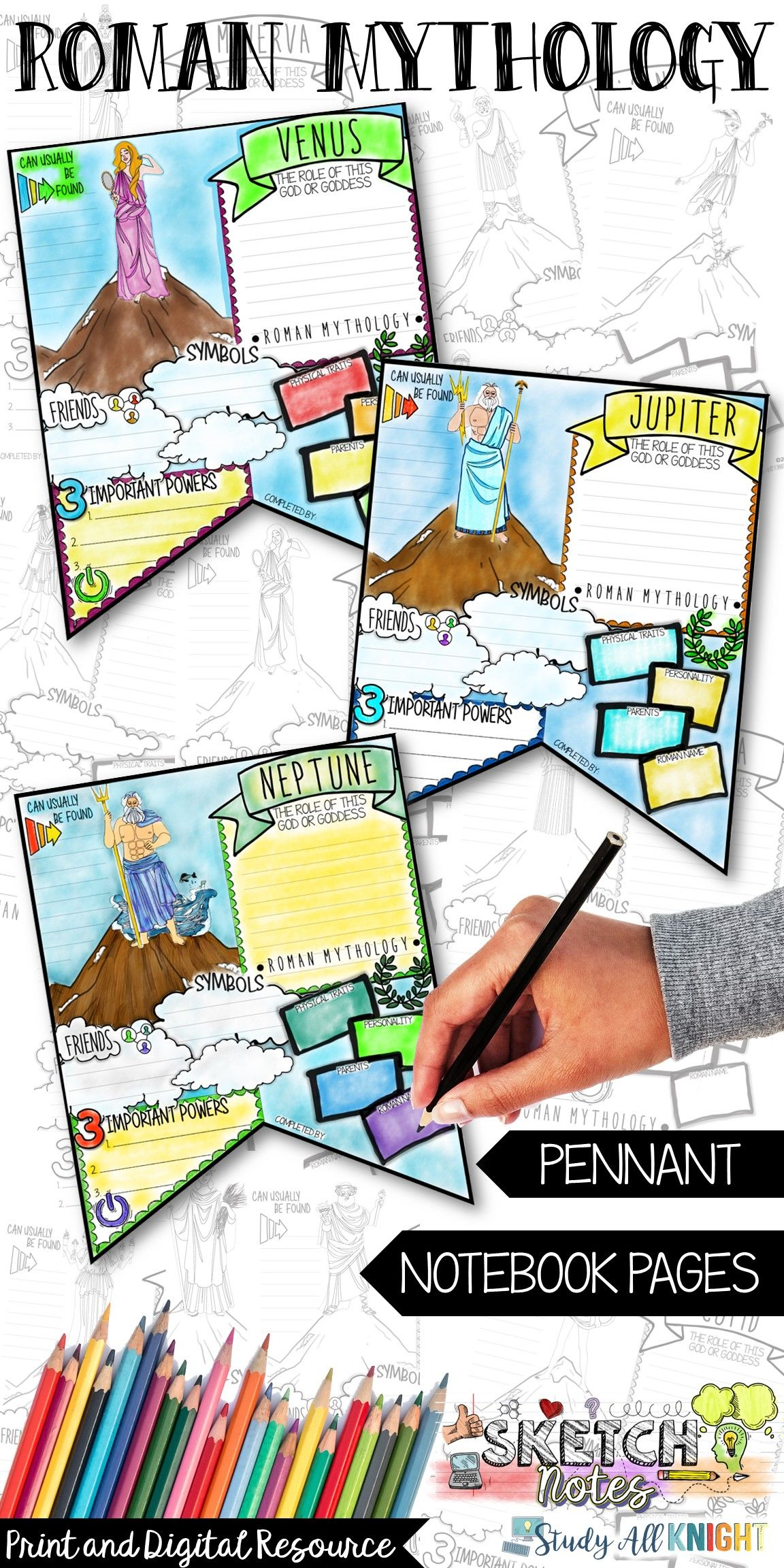 Roman Mythology Activities Research Pennant Sketch Notes
