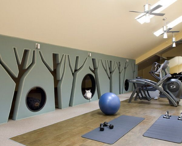Custom Home Gym Wallpaper With Kids Play Area
