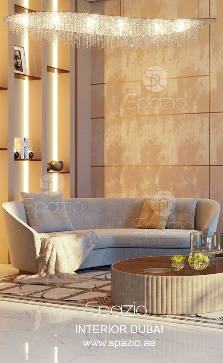 Seating area in luxury Dubai house Interior