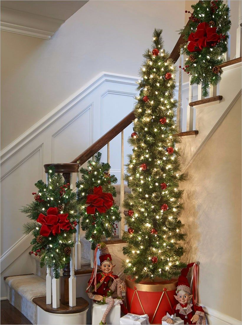 Stairs Christmas Decorating Ideas Christmas Staircase Decor