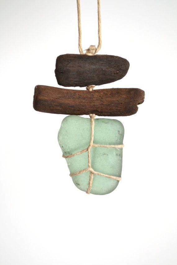 Diy Schmuck: Grazim Sea Glass und Treibholz Halskette / Charm die Einfachheit ... - Diy Jewelry Making #bijouxbricolage