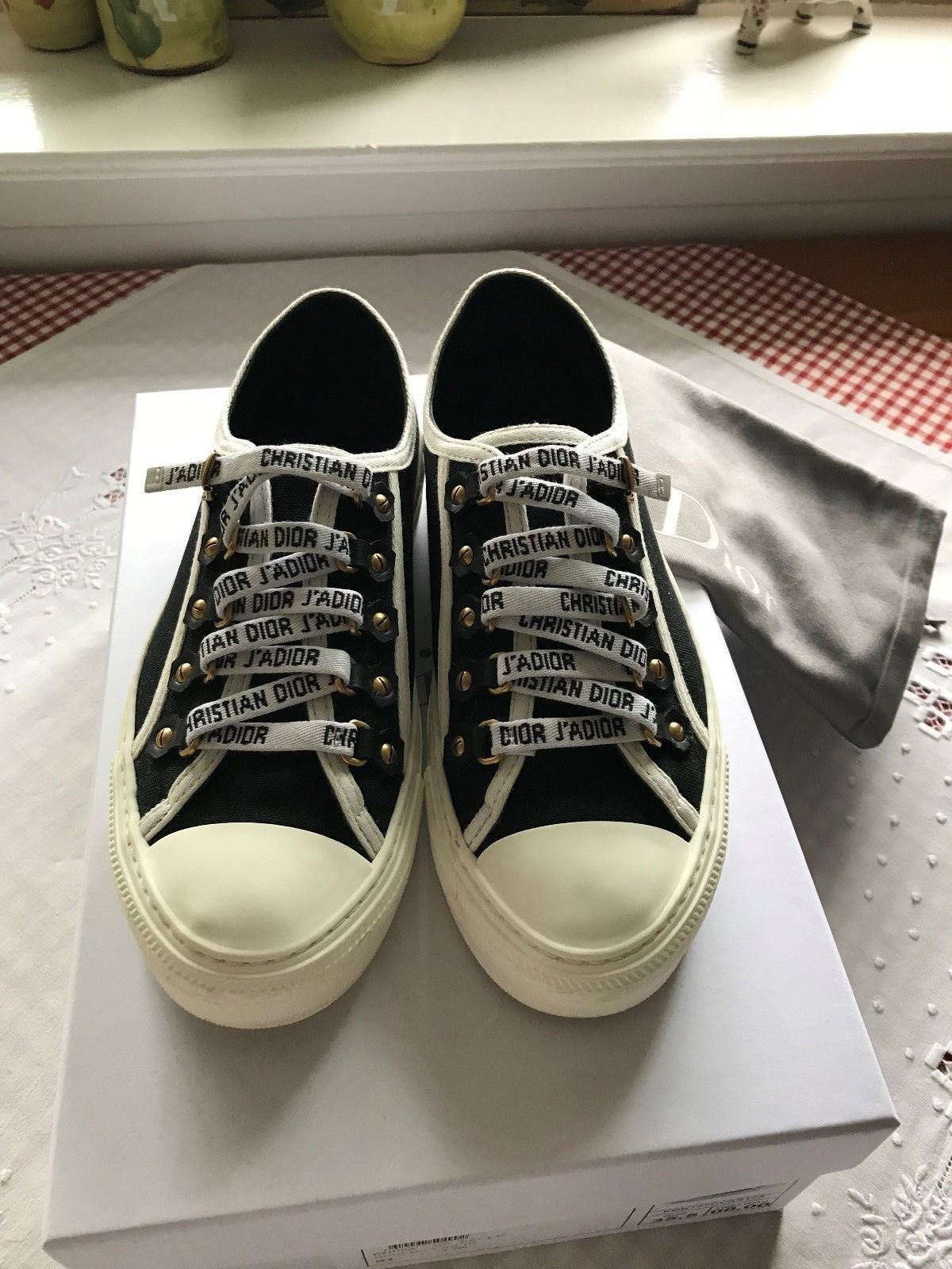 d775394501220 Christian Dior Walk-N-Dior Sneaker Black Canvas Size 35.5 Sold Out ...