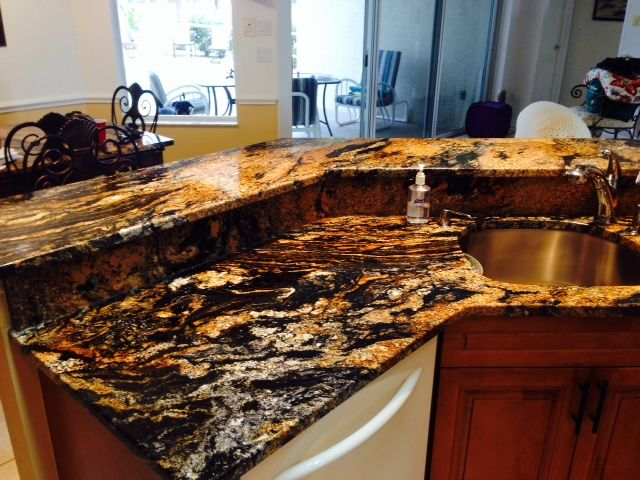 Granite Tiger Countertop Ideas Finished Jobs Kitchen Island With Seating Granite Granite Countertops