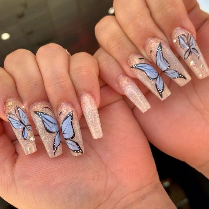 Glitter Butterfly Nails Acrylic Coffin Bling Long Longnails Butterfly Longnails Trendynails Cu Long Acrylic Nails Best Acrylic Nails Pretty Acrylic Nails